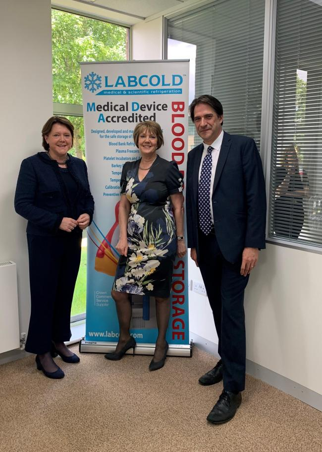 Maria Miller with Suzanne Clubley, Labcold's MD and James Morris MP