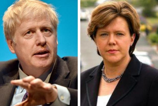 Boris Johnson, pictured left speaking at a hustings yesterday, and Maria Miller, pictured right