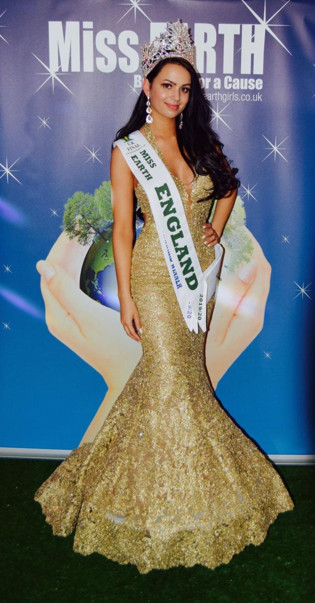 Stephanie Wyatt, winner of the Miss Earth England competition 2019