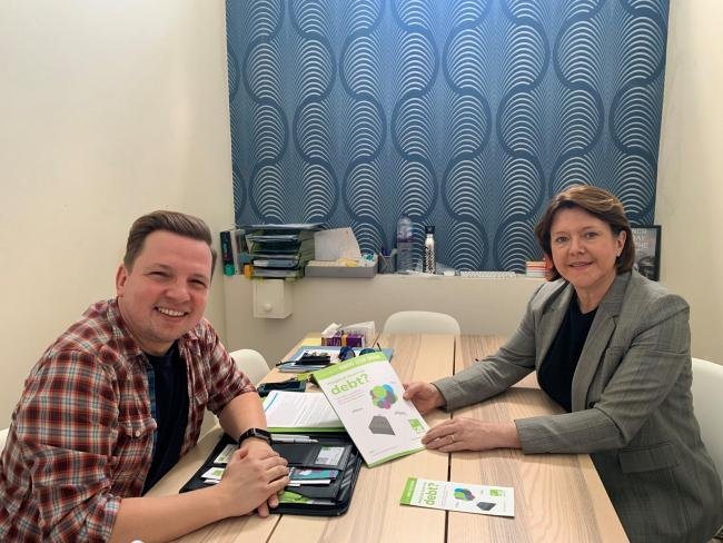 Maria Miller meets with Ben Martin, centre manager at CAP