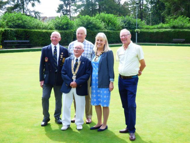 Members of the bowls club with mayor of Basingstoke and Deane
