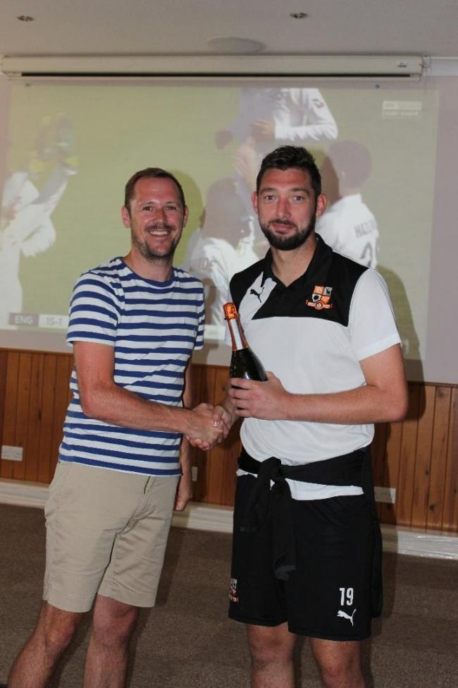 Hartley man of the match Matt Drage and match sponsor Matt Graham Image:Josie Shipman