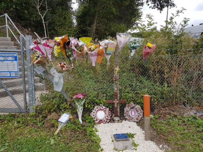 Tributes were laid at the scene