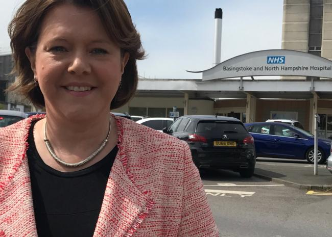 Maria Miller pictured outside Basingstoke and North Hampshire Hospital. Credit: Maria Miller, Twitter