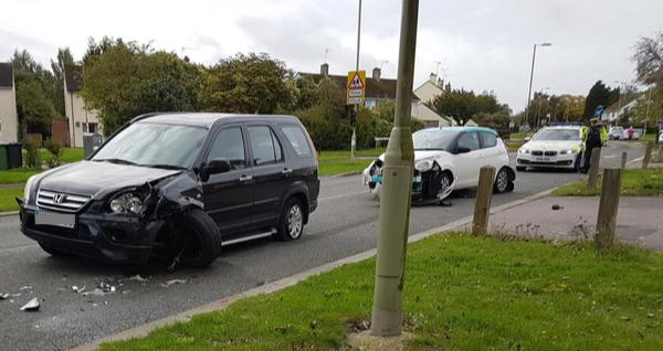 Police dealing with two car smash on busy Basingstoke road