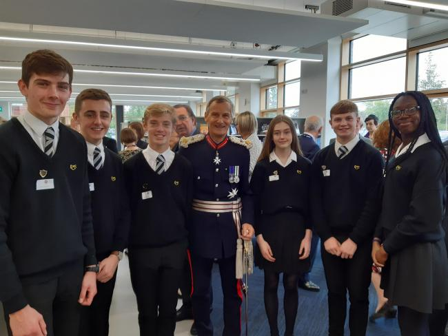 Lord-Lieutenant of Hampshire, Mr Nigel Atkinson, with students