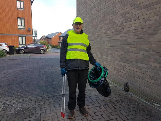 Pictured: John Readman says that litter picking has been his hobby for two and a half years