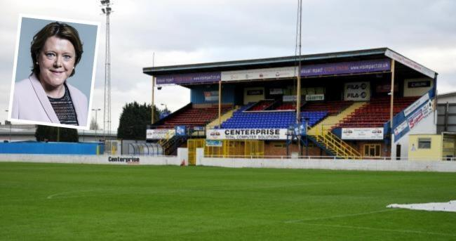 The Camrose Ground, the former home of Basingstoke Town FC. Inset, Maria Miller, Basingstoke's MP