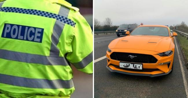 Officers seized a Ford Mustang worth £45,000. Phoeo: Hants Road Policing Twitter