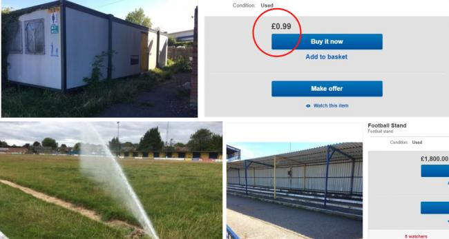 Camrose football stand auctioned on eBay