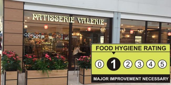 Basingstoke Patisserie Valerie rated one out of five stars for hygiene