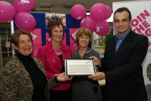 Patient reps Sue Teare and Lynne Oakley with clinical nurse specialist Anne Brember and David Ince from Breakthrough Breast Cancer