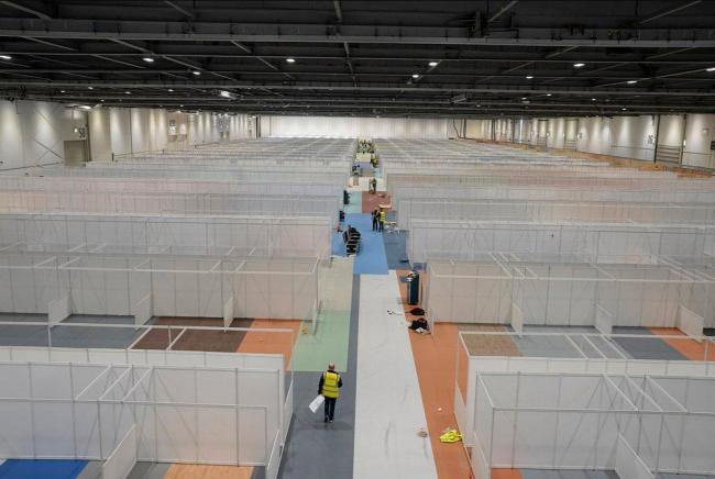 London's Excel Centre is being transformed into a temporary hospital (Credit: No 10 Downing Street)