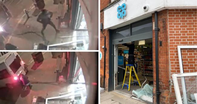 CCTV footage captured the moments the culprits ram-raided and broken into the store