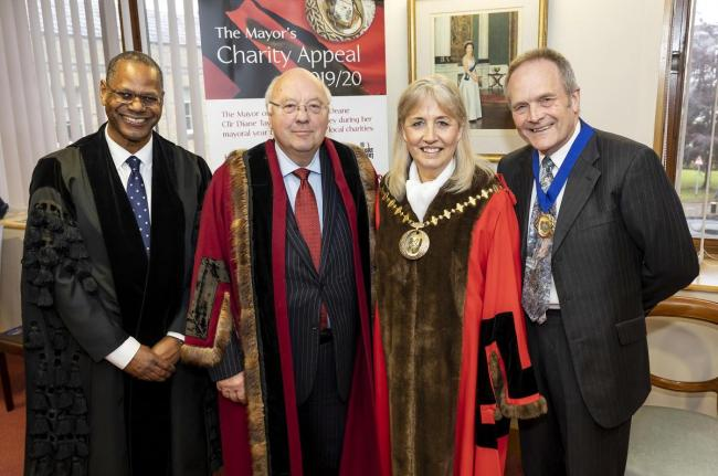 BDBC Chief Executive Mel Barrett, former council leader Cllr Clive Sanders, Mayor of Basingstoke and Deane Cllr Diane Taylor and consort Dr Andy Taylor, at mayor making in 2019