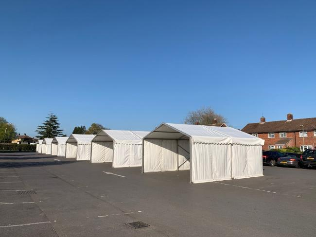 The Covid-19 assessment centre in the Russell Howard car park when it was first set up