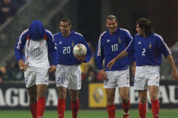 David Trezequet (second from left) scored the golden goal against Italy to hand France the Euro 2000 title