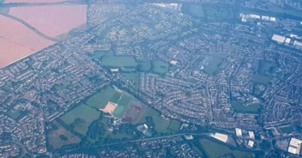 Basingstoke Gazette: An aerial photograph of Basingstoke, the second-largest town in Hampshire