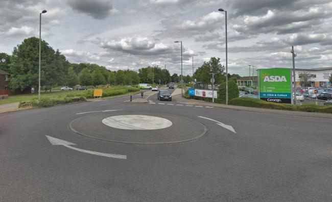 The stretch of Brighton Way between the two mini roundabouts outside Asda were closed for several weeks. Image: Google Maps