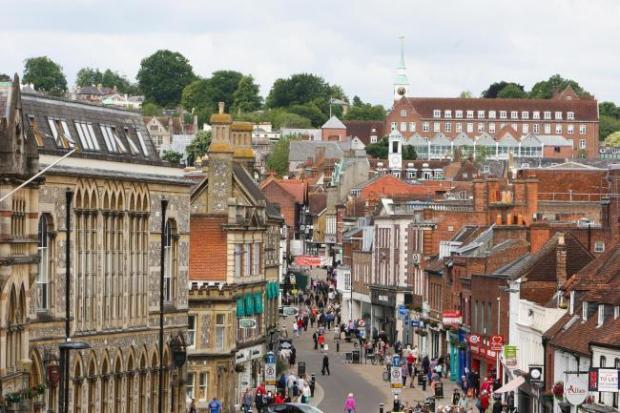 Basingstoke Gazette: Rachel Adams 23.6.15 Winchester High Street from the top of the King Alfred statue.