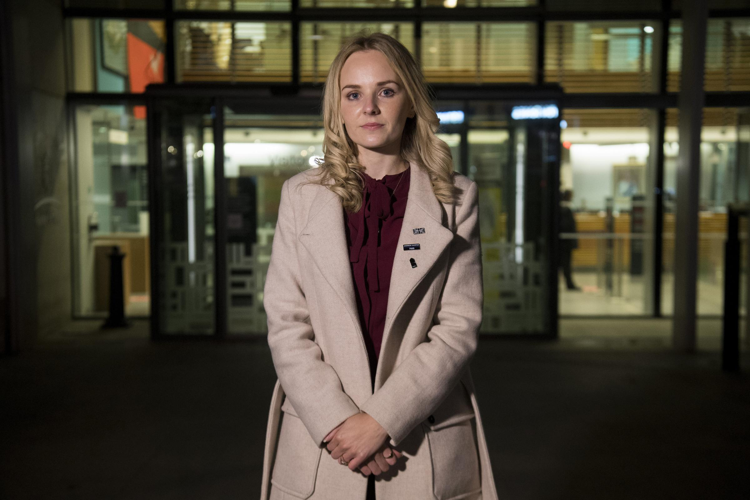 Lissie Harper, the widow of Pc Andrew Harper, at the Home Office in central London after meeting with Home Secretary Priti Patel. PA Photo. Picture date: Monday November 2, 2020. This was the second meeting between the pair on the push for Harpers Law,