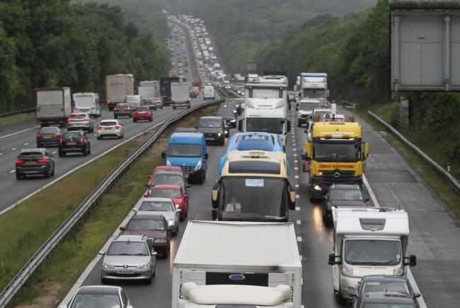 There is one lane blocked on the M3 southbound between junctions six and seven