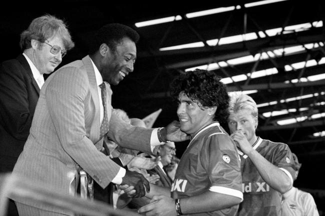 Pele, left, praised tribute to Diego Maradona after his death aged 60 on Wednesday