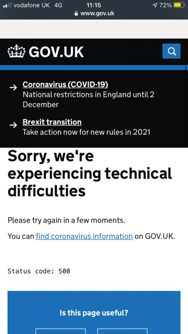 The government postcode-checker is experiencing technical difficulties