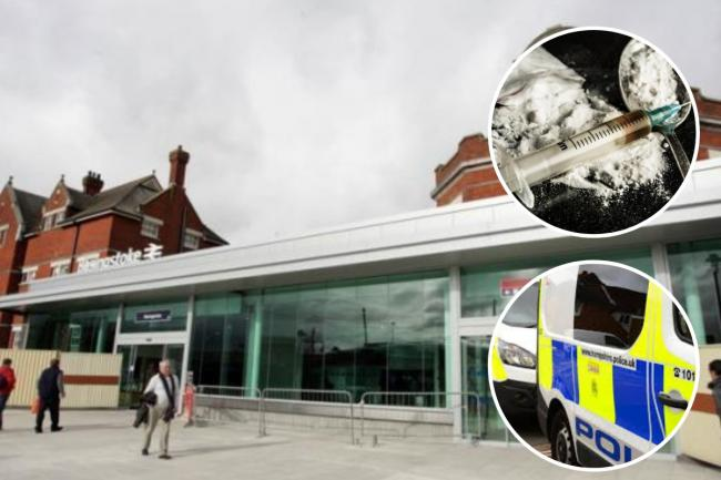 Police searched and arrested two men near Basingstoke train station last week (insets: stock images)