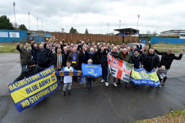Left: Fans of Basingstoke Town gather outside The Camrose in February 2020 at the launch of The Gazette's Save The Camrose campaign. Photo by Sean Dillow. Below: An aerial photo shows the Camrose stadium in September 2020. Photo by Simon Hill.