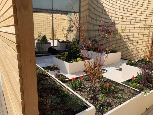 One of the garden areas at the Ark Cancer Centre Charity-funded supportive care centre.