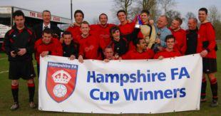 FC Censo celebrate their 3-0 victory over Headley Athletic in the final of the Hampshire A Cup.