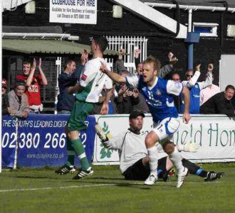 Richard Graham scores Eastleigh's opener.