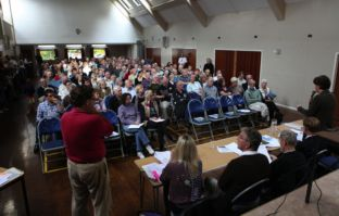 The packed meeting at Old Basing Village Hall