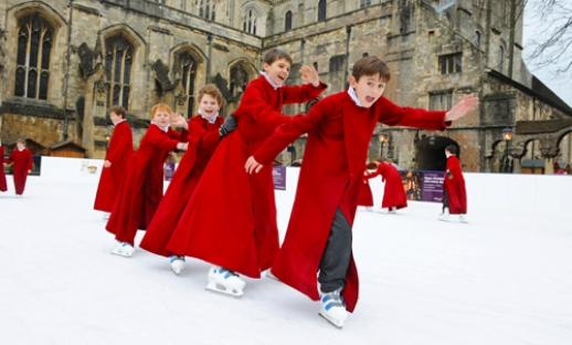 Choristers test the ice rink