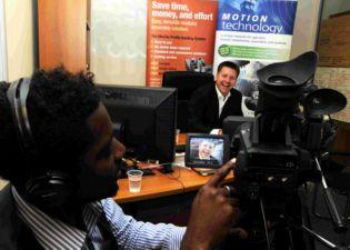 LG Motion managing director Gary Livingstone being interviewed and filmed by David DElcosta, from Collaboration Media