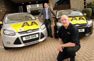 Basingstoke Gazette: Colin Wilkinson, front, and Andy Heath are two AA Driving Instructors who are taking part in Channel 5's TV show about bad drivers.