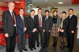 Enterprise M3 chairman Geoff French and the leader of Basingstoke and Deane Borough Council Cllr Andrew Finney meet with a Chinese delegation from Wenzhou, China