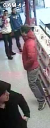 Police want to speak to the two men at the top of the picture, and the man at the bottom. The man in the red jacket is not thought to be involved.