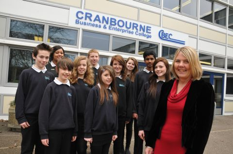 Cranbourne Business and Enterprise College headteacher Betty Elkins with students