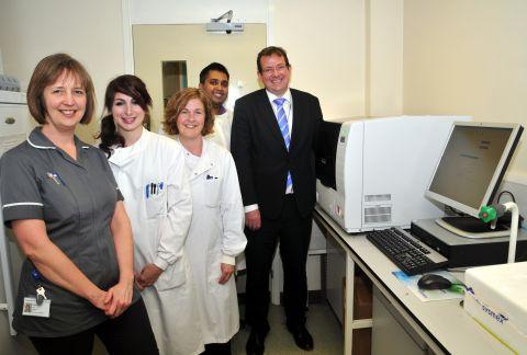 From left: Breast cancer sister Sandy Lyford, biomedical scientists Laura Thomas, Judith Webster adn Priyen Patel and consultant breast surgeon Kevin Harris