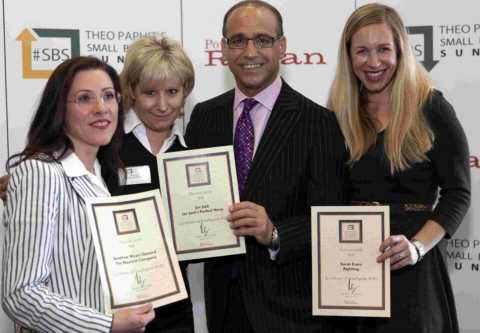 Sandrine Wyatt-Gonord, Jan Jack and Sarah Evans with Theo Paphitis