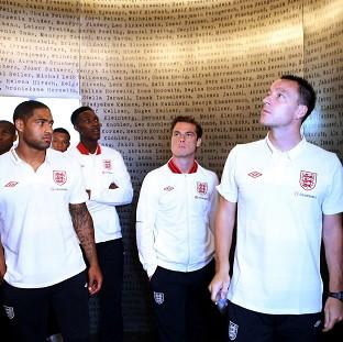 England footballers during a visit to the Schindler Factory in Oswiecim, Poland (FA/PA)