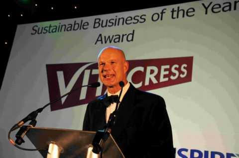 Mike Rushworth of Vitacress, winner of the INSPIRE11 Sustainable Business of the Year Award