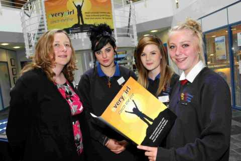 L-R: Liz Jackson chats to Aldworth Science College pupils Kristelle Chant, Jessica Tipler and Zoe Burn