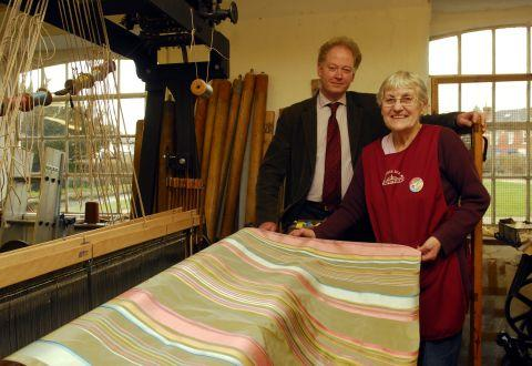 Stephen Bryer and senior weaver Joan Freun in happier times at Whitchurch Silk Mill