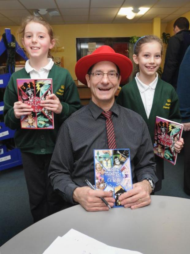 Author Ed Wicke with pupils at Kingsclere C of E Primary School