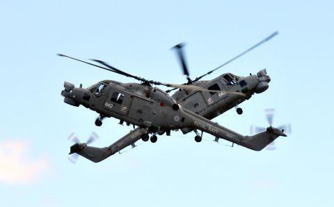 Royal Navy Lynx helicopters put on an aerial display