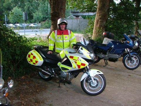 SERV volunteer Brian Nicholson from Basingstoke with the new bike