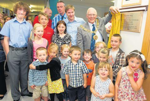 Mayor of Winchester Frank Pearson opens the new children's ward reception at Royal Hampshire County Hospital